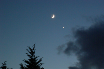 Image of Moon, Venus and Jupiter Dec 1, 2008
